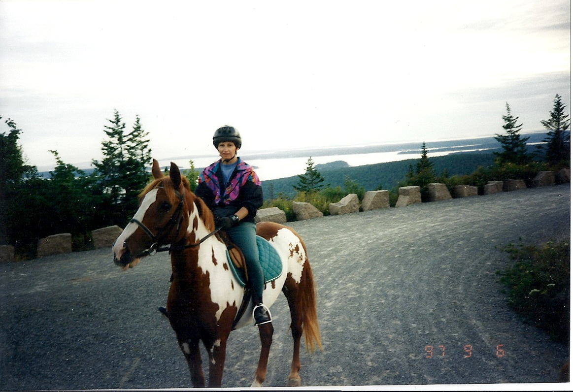My mom and my horse Duke in Acadia National Park