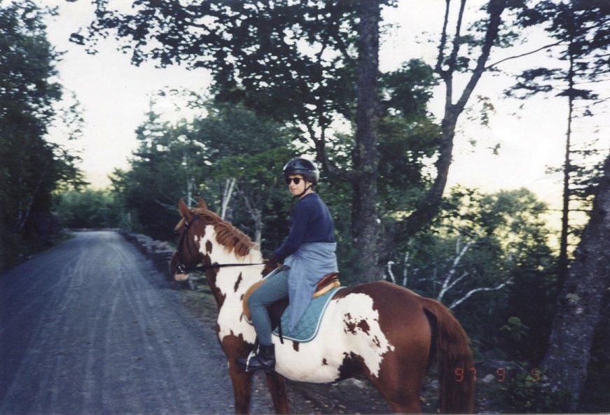 My mom and Duke riding in Acadia National Park circa 1998