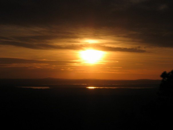 Sunset from Cadillac Mountain, which is the highest mountain within 25 miles of the shoreline in North America
